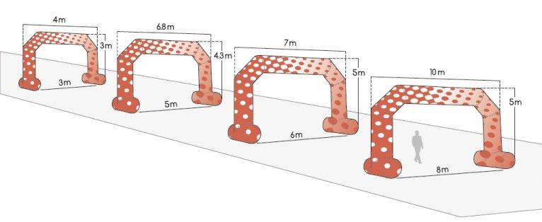 dimenssions arches gonflables